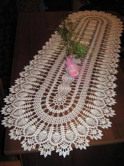 caminho de mesa de croche branco detalhada