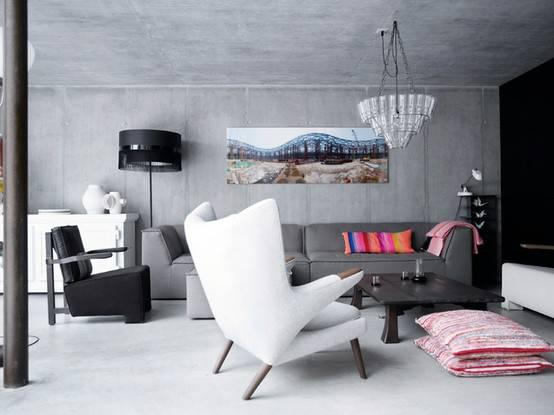 concrete_living Sala de estar com piso de cimento queimado