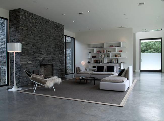 d4153 Sala de estar com piso de cimento queimado