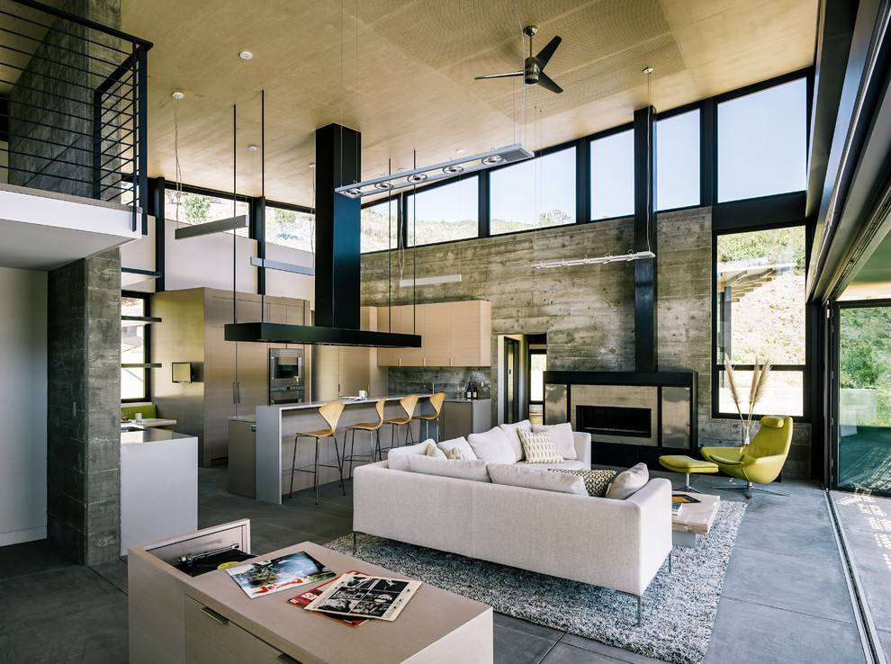 decorcology Sala de estar com piso de cimento queimado