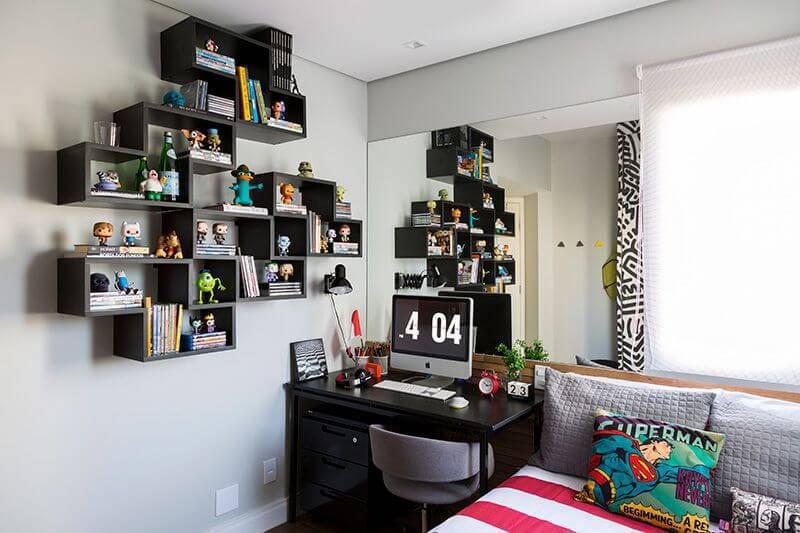 escrivaninha quarto de menino com nichos studio novak 126669