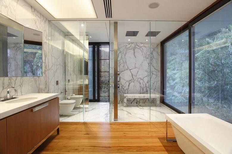marmore no banheiro revestimento cinza gisele taranto 87930