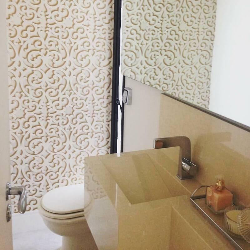Papel de Parede no lavabo vivant arquitetura interiores
