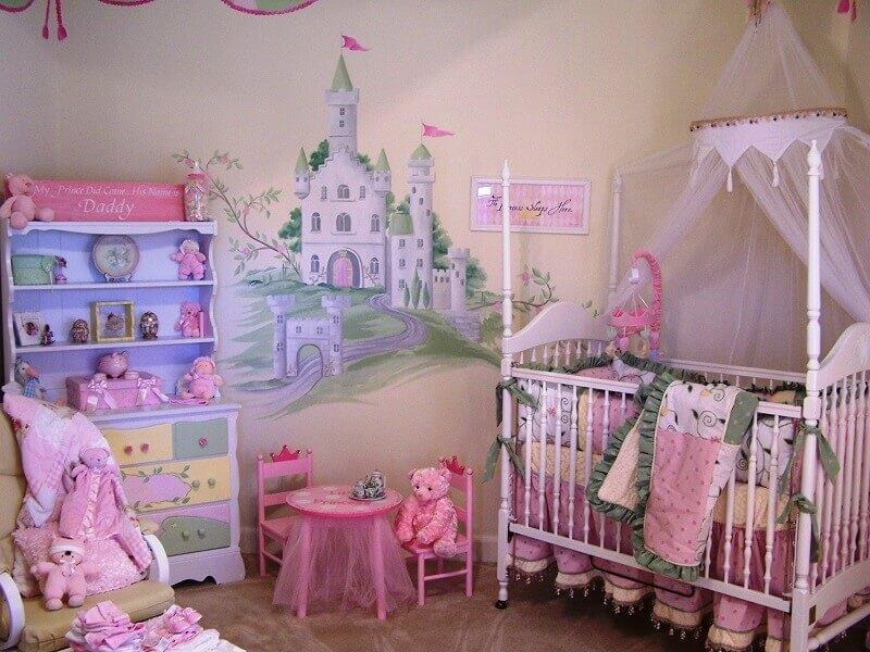adesivo de castelo para quarto de bebê