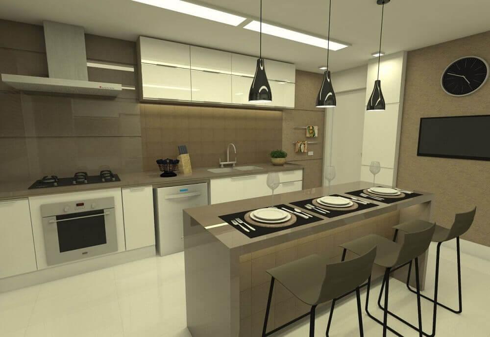 Modelo de cozinha planejada simples com ilha