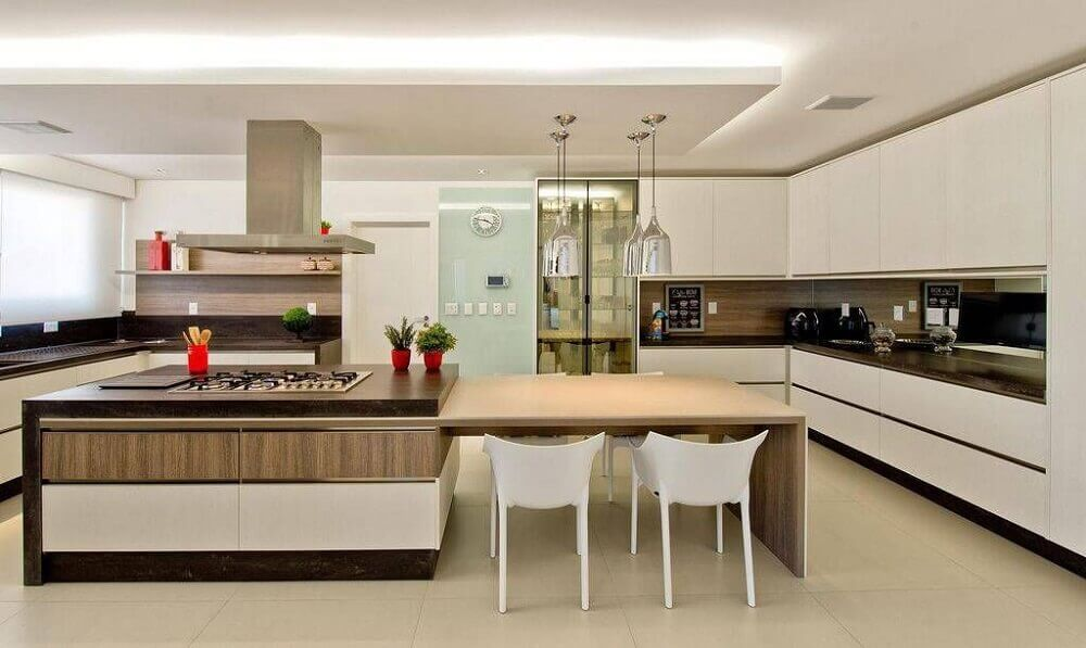 decoração de cozinha planejada com ilha