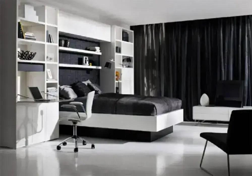 decoração de quarto preto e branco