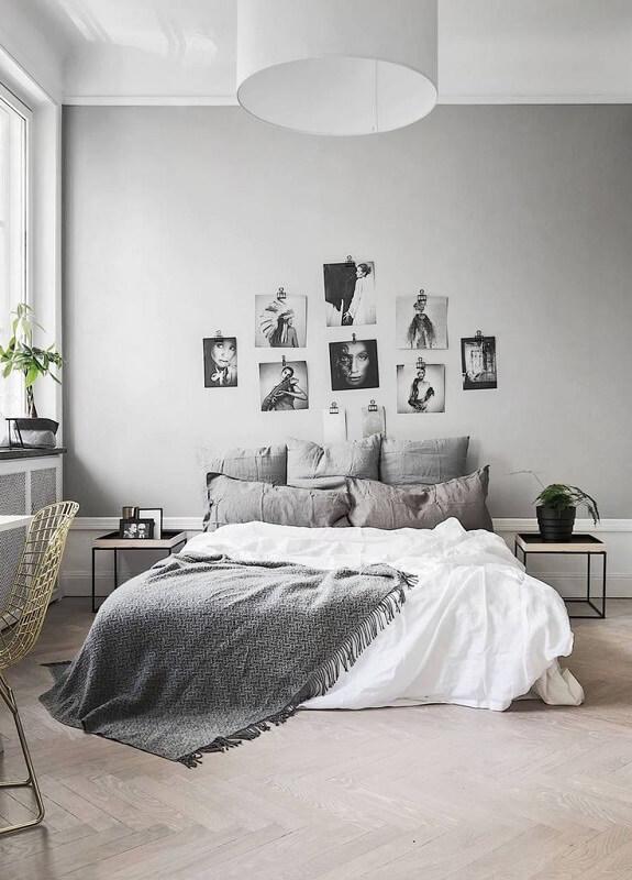 decoração minimalista no quarto com fotos