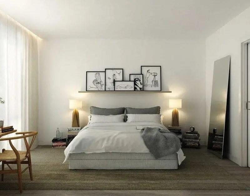 decoração minimalista no quarto com quadros