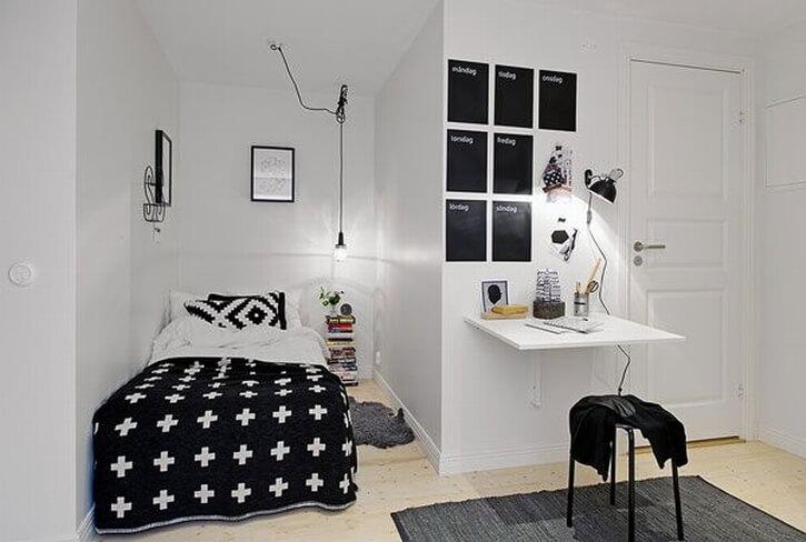 decoração minimalista no quarto preto e branco