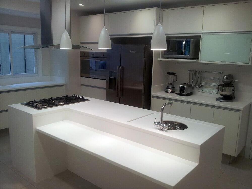 ilha branca para cozinha