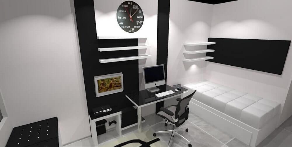 Decoração de quarto de solteiro preto e branco