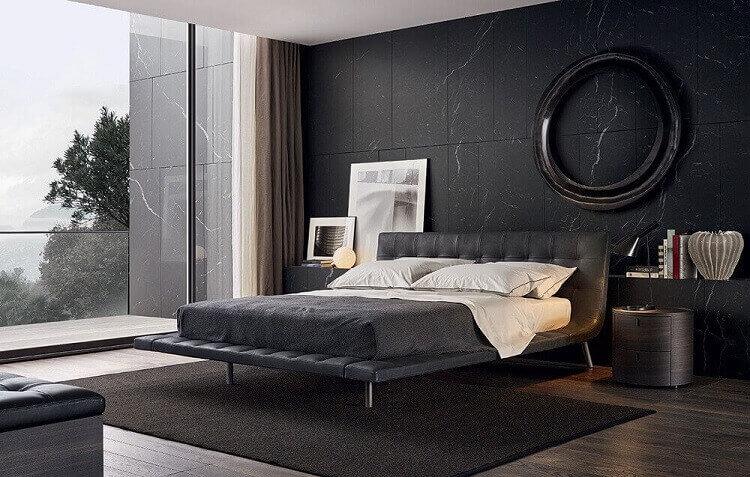 quarto com parede preta moderno