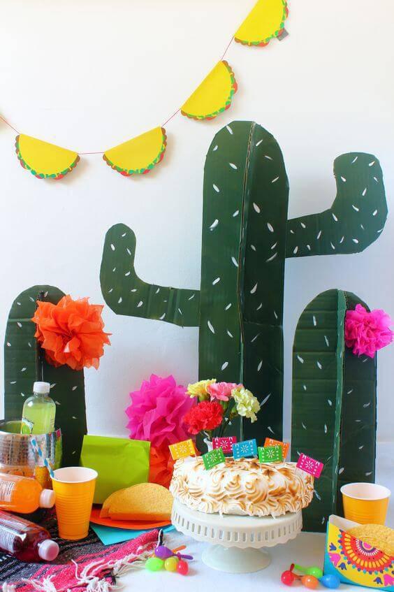 Decoração de aniversário simples com tema mexicano