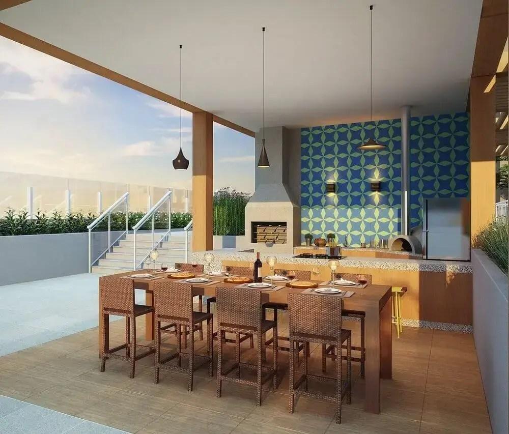 área gourmet externa com decoração simples e charmosa