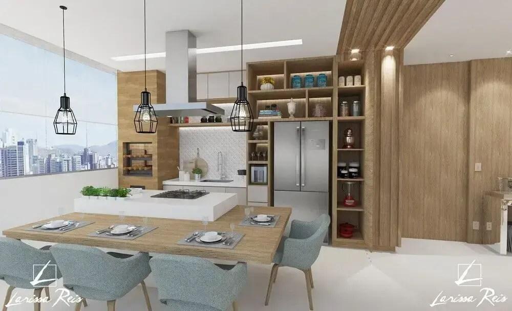 decoração de área gourmet moderna com pendentes minimalistas