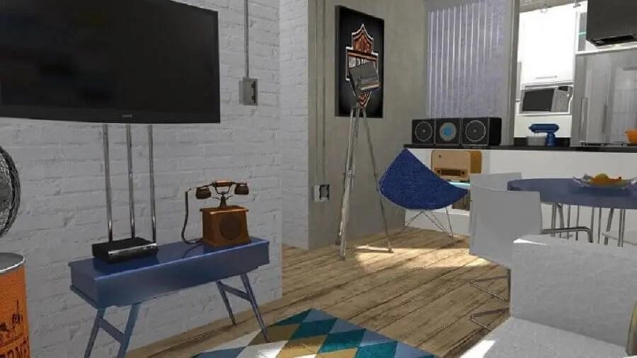 Sala pequena com rack retrô
