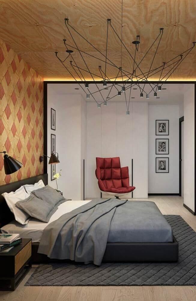 quartos de casal modernos decorado com luminária diferente sobre a cama Foto Pinterest