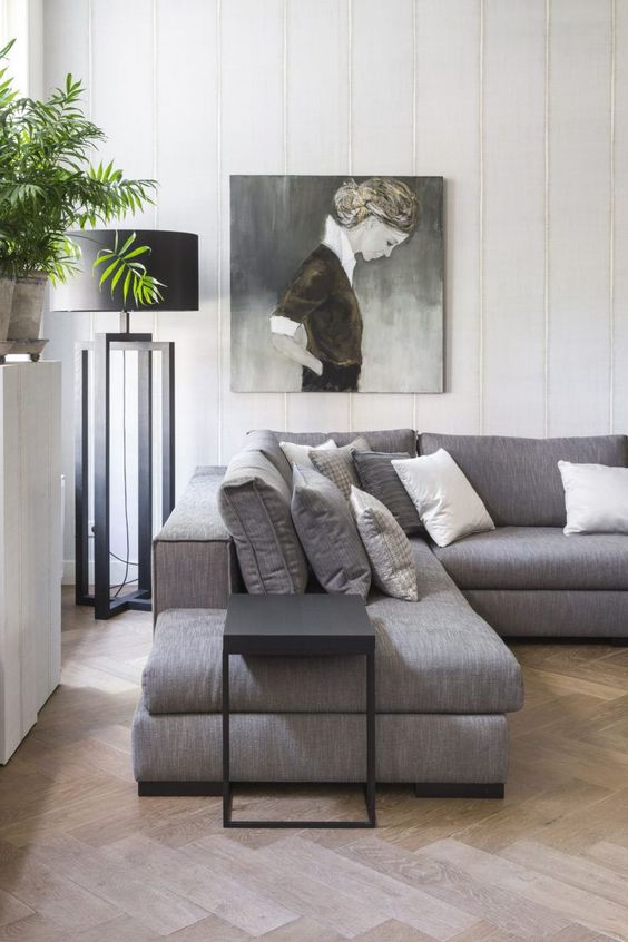 Black floor lamp in modern room