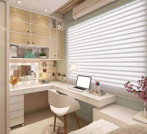 L office desk with dressing table