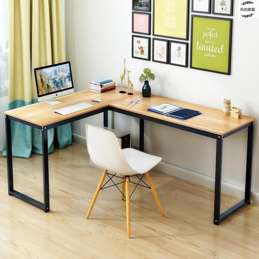 L office desk with decorative frames