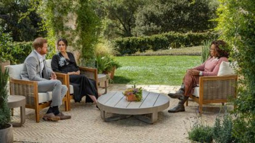 Henry and Meghan Markle in oprah winfrey interview at Março 2021.