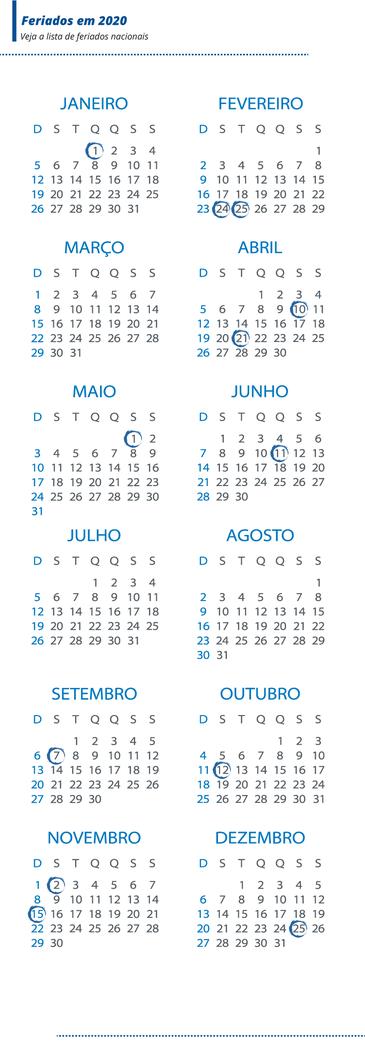 Arte do calendário de 2020 com feriados