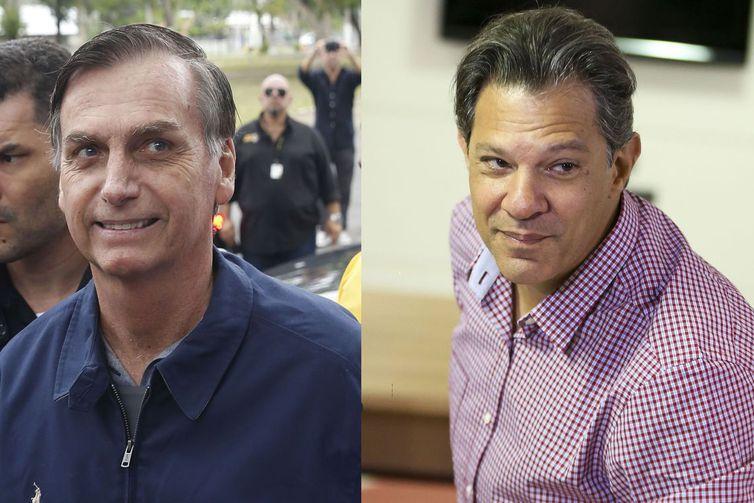 Candidatos à Presidência Jair Bolsonaro (PSL) e Fernando Haddad (PT).