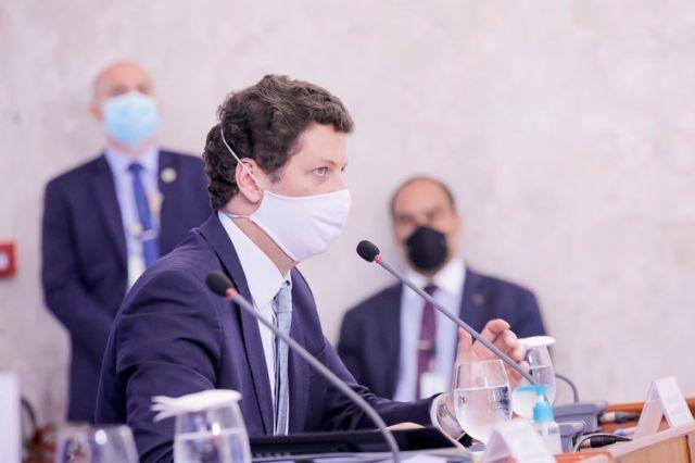 O ministro do Meio Ambiente, Ricardo Salles, durante coletiva de imprensa.