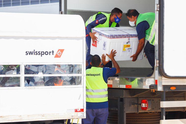 Chegada de 190.500 doses da vacina AstraZeneca a Belo Horizonte
