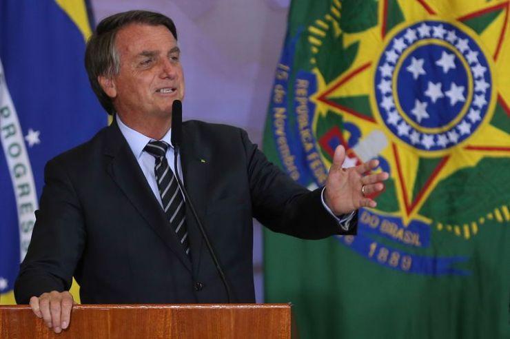 O presidente da República, Jair Bolsonaro, durante a entrega do Prêmio Marechal Rondon de Comunicações no Palácio do Planalto