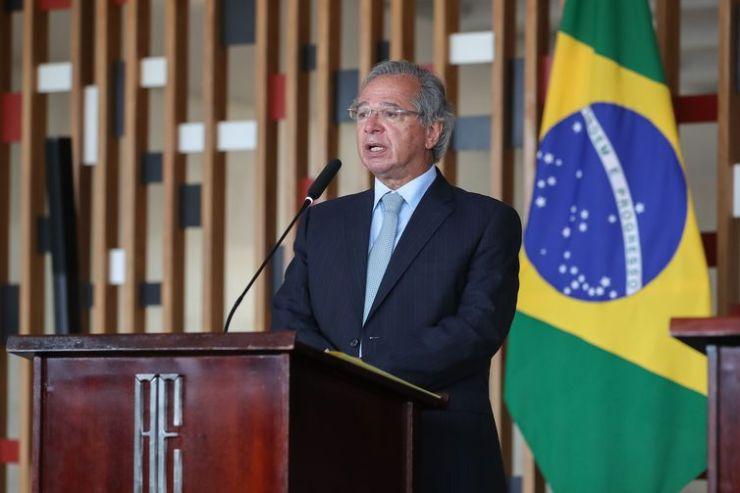 O  Ministro de Estado da Economia, Paulo Guedes, durante a cerimônia de assinatura do memorando, no Itamaraty, em Brasília