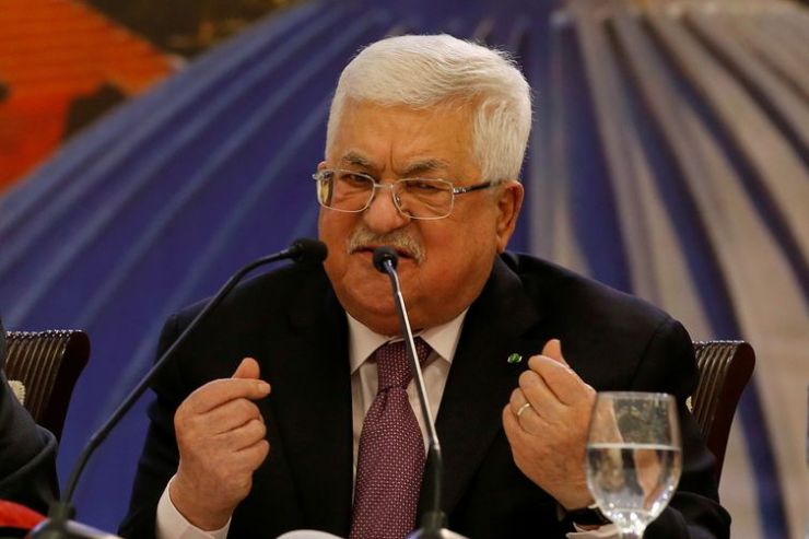 Palestinian President Mahmoud Abbas gestures as he delivers a speech following the announcement by the U.S. President Donald Trump of the Mideast peace plan, in Ramallah in the Israeli-occupied West Bank January 28, 2020. picture taken January
