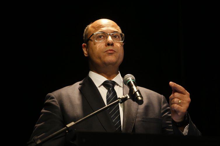 Cerimônia de transmissão do cargo de presidente do Banco Nacional de Desenvolvimento Econômico e Social (BNDES) para Joaquim Levy, no auditório do BNDES. Na foto, o governador do Rio, Wilson Witzel.