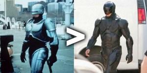 """Acima as versões 1987 e 2014 do """"policial do futuro"""""""