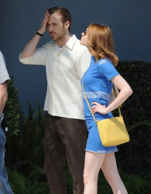 "Emma Stone and co star Ryan Gosling goofing around for a scene in their new movie ""La La Land"" filming in Burbank Ca. Featuring: Emma Stone, Ryan Gosling Where: Burbank, California, United States When: 19 Aug 2015 Credit: Cousart/JFXimages/WENN.com"