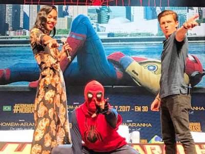 Tom Holland no Brasil, divulgando Homem-Aranha: De Volta ao Lar