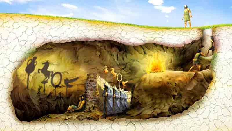Ilustração representativa da alegoria da Caverna de Platão, mito aludido de certa forma em Um Estranho Numa Terra Estranha