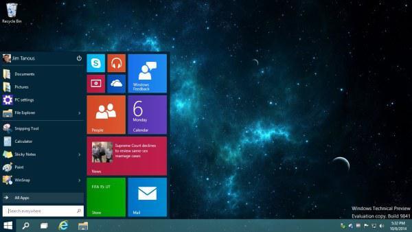 O novo Windows 10. Divulgação.