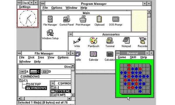 O Windows 3, de 1990. (Reprodução/Guardian)
