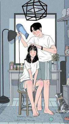 Secando o cabelo da esposa