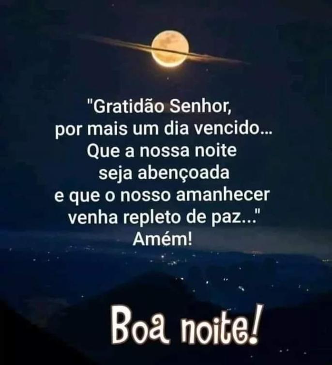 Boa noite com Deus e gratidão