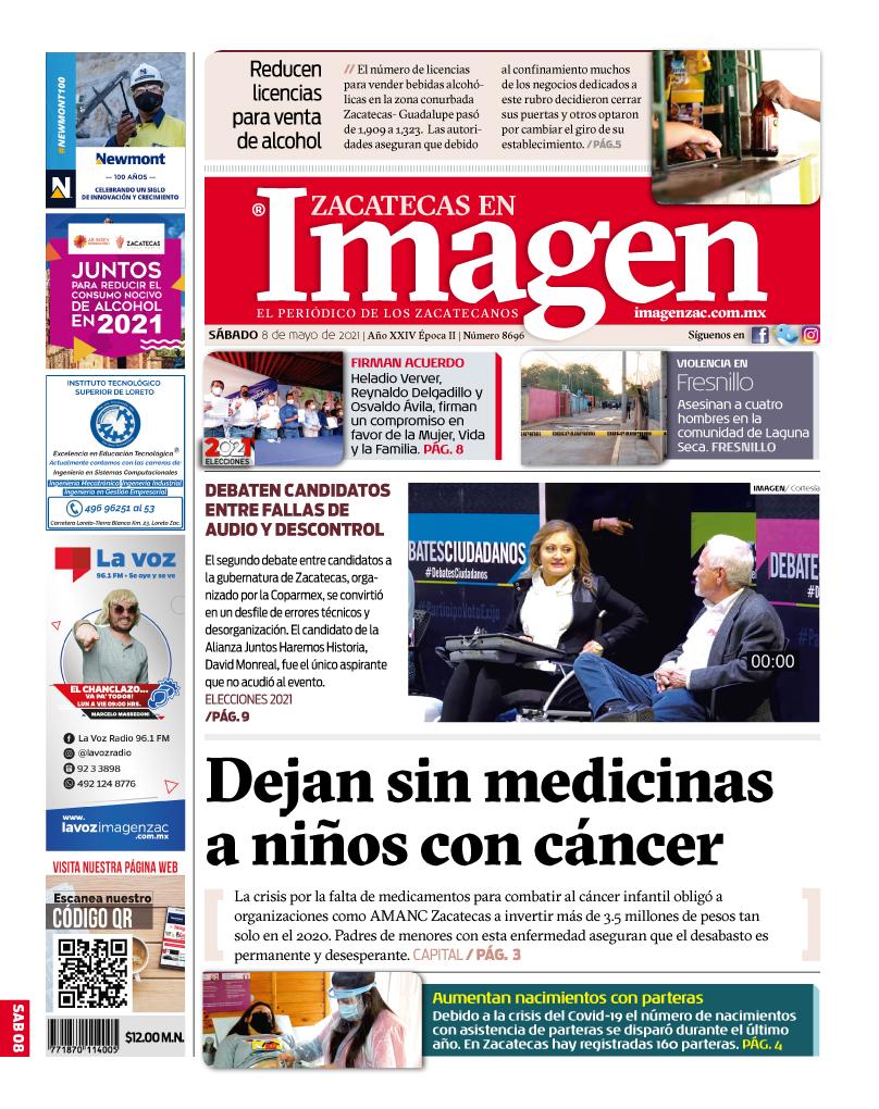 Imagen Zacatecas edición del 08 de mayo de 2021