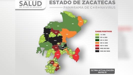 Se registran 70 nuevos casos de Covid-19 en Zacatecas durante las últimas 48 horas
