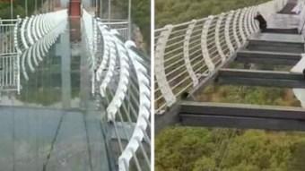 Casi muere un turista tras el colapso del puente de cristal en China
