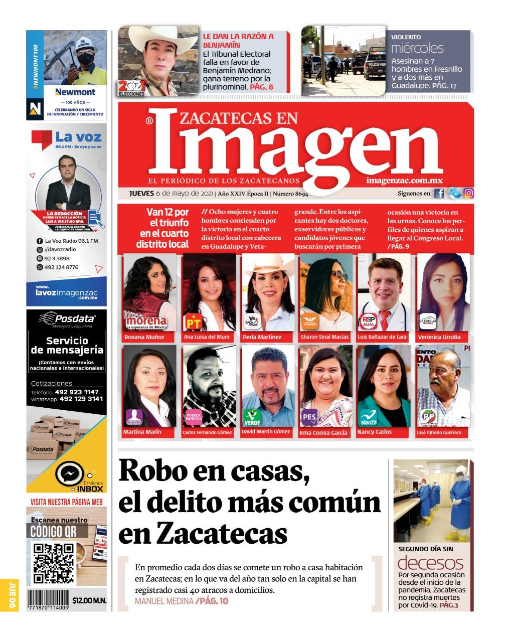 Imagen Zacatecas edición del 06 de mayo del 2021