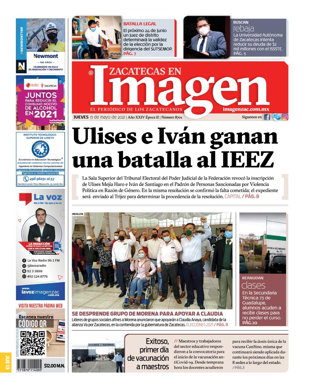 Imagen Zacatecas edición del 13 de mayo del 2021