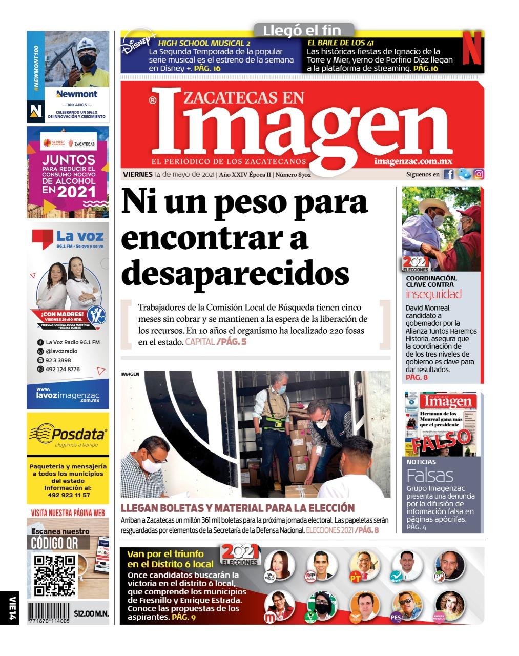 Imagen Zacatecas edición del 14 de mayo del 2021