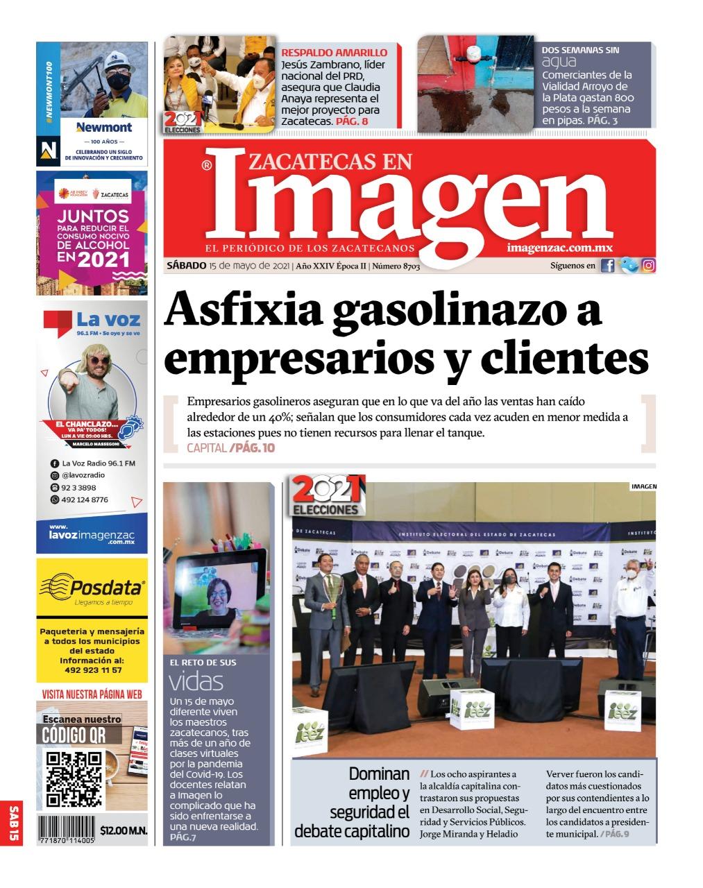 Imagen Zacatecas edición del 15 de mayo de 2021