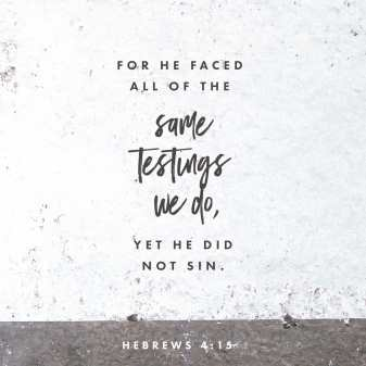 Hebrews 4:15 For we have not an high priest which cannot be touched with the feeling of our infirmities; but was in all points tempted like as we are, yet without sin.